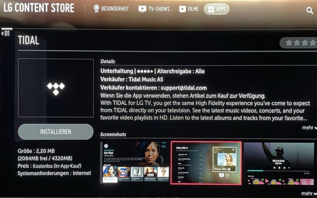 Die Tidal TV App kann ab sofort im LG Content Store heruntergeladen werden