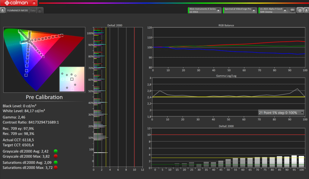 LG G1 OLED vor der SDR-Kalibrierung