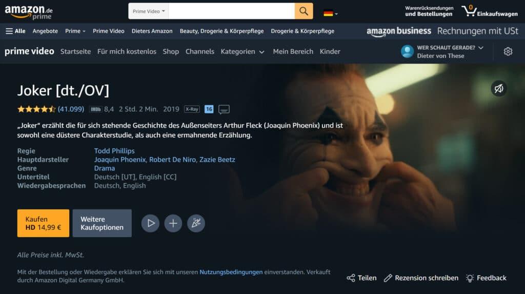 Joker steht auf Amazon Prime Video als digitaler Film zum Kauf
