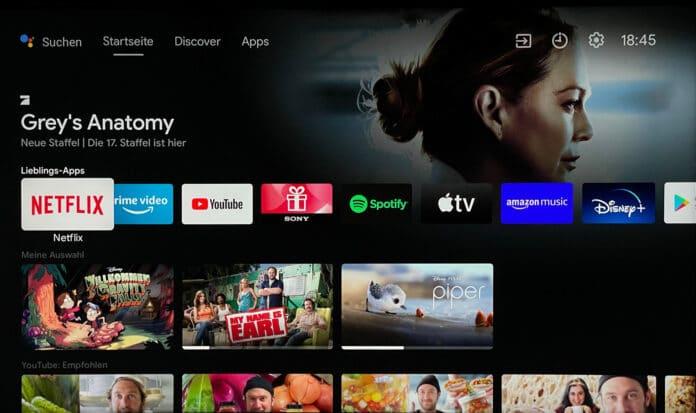 Der neue Android TV-Startbildschirm mit