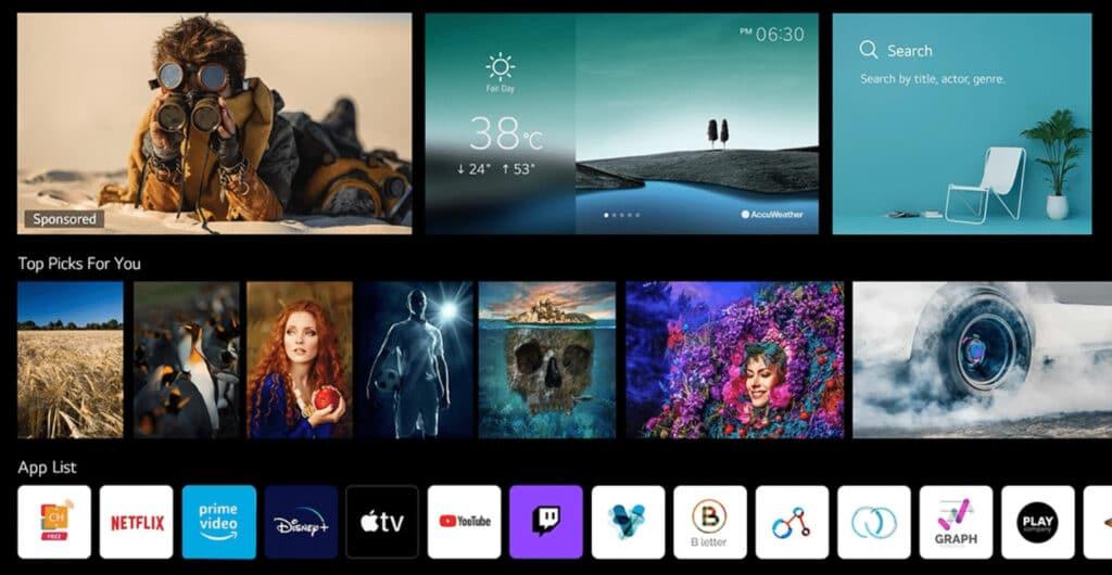 Der neue webOS 6.0 Homescreen bedeckt den kompletten Bildschirm des LG OLED G1