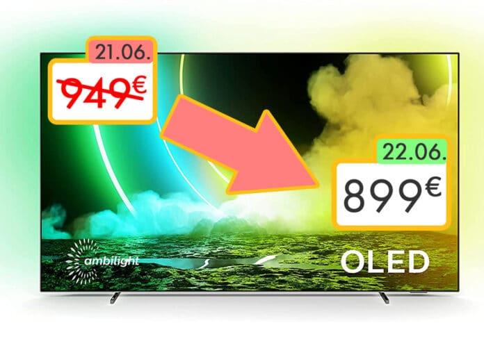Artikel wie der Philips 55OLED705 wurden innerhalb des Prime Days nochmals um 50€ im Preis gesenkt