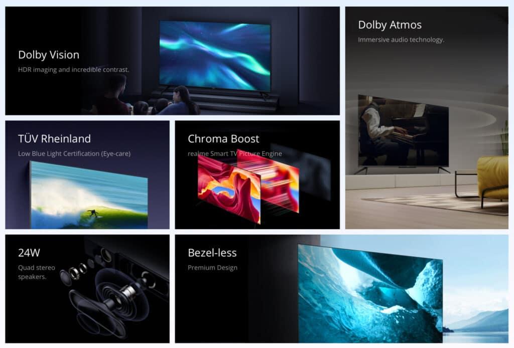 realme bewirbt die diversen Vorzüge seiner TVs.