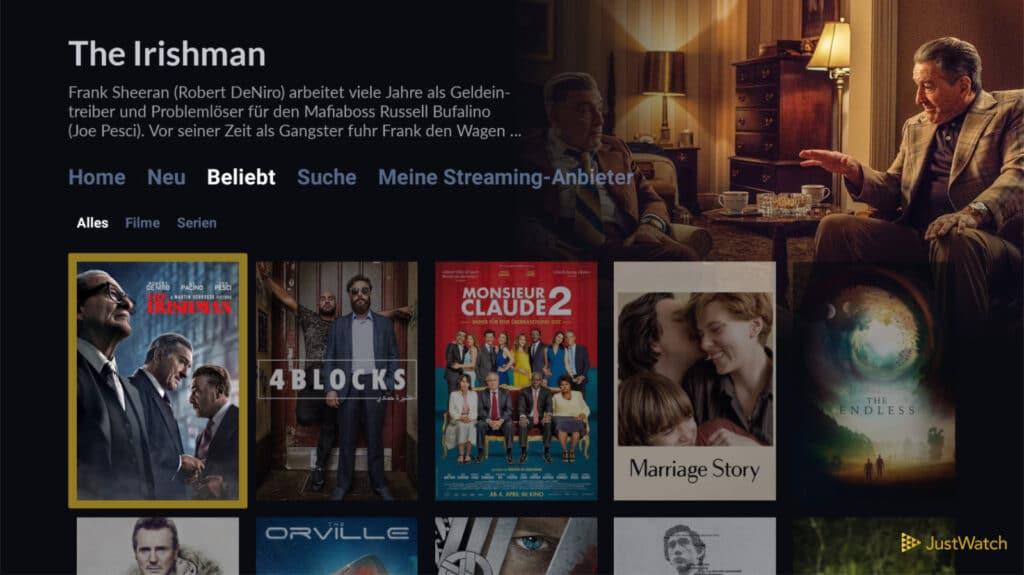 Just Watch kann auch auf beliebte Titel hinweisen
