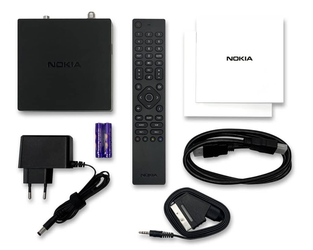 Der Lieferumfang des Nokia Satellite Receiver 7000.