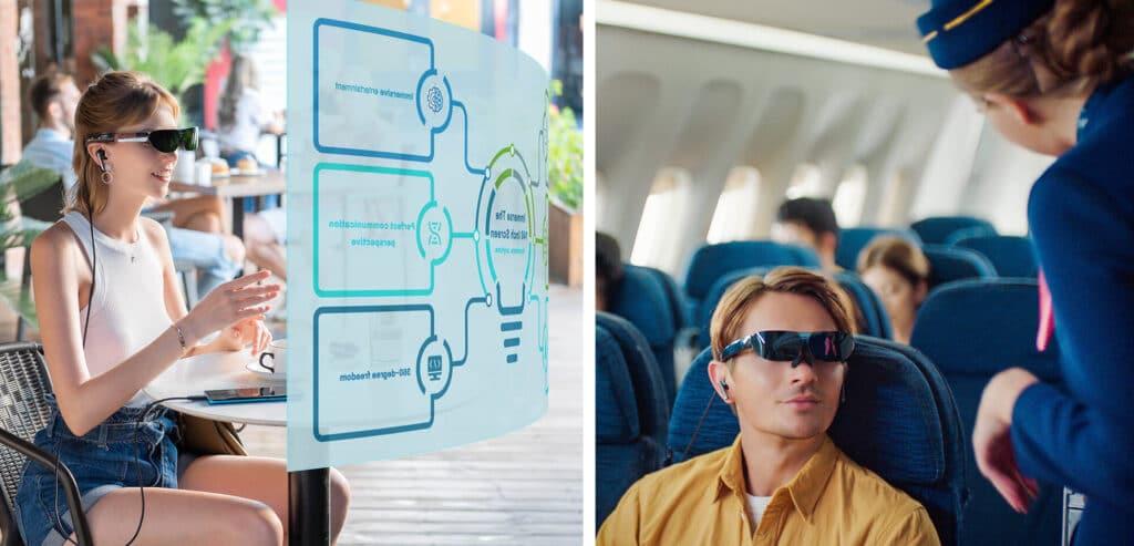 Dank transparenten 1080p OLED-Displays kann man weiterhin mit der Außenwelt interagieren