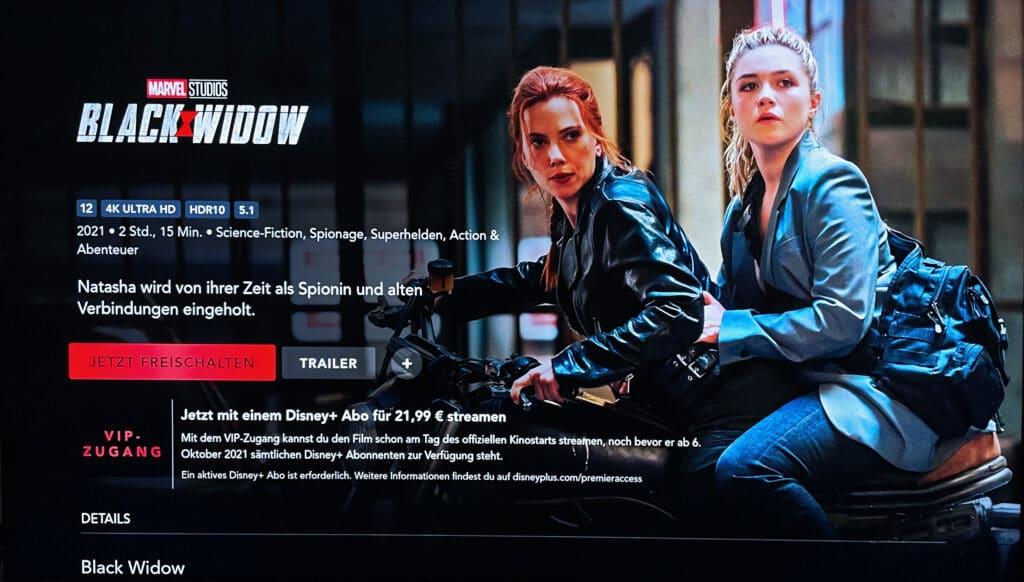 """22 Euro kostet der Heimkino-Zugang für """"Black Widow"""" auf Disney+"""