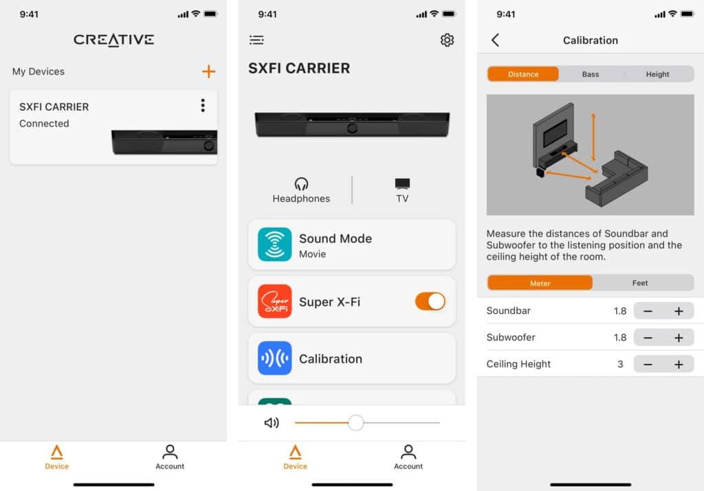 Mit der Creative App (für iOS und Android) kann eine manuelle Kalibrierung der Soundbar + Subwoofer vorgenommen werden