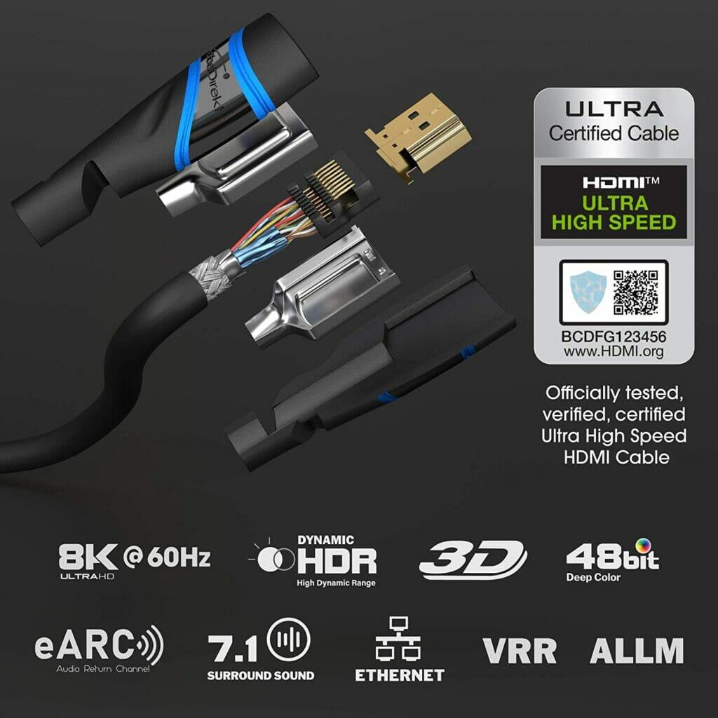 Offiziell von der HDMI Licensing zertifiziert - die HDMI 2.1 Ultra High Speed Kabel von Kabeldirekt