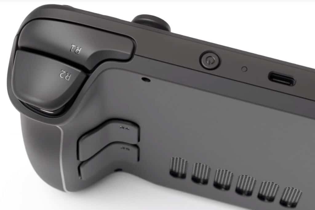 """""""Wohl geformte"""" Schultertasten, zusätzliche Tasten auf der Rückseite und der USB Typ-C-Anschluss oben"""