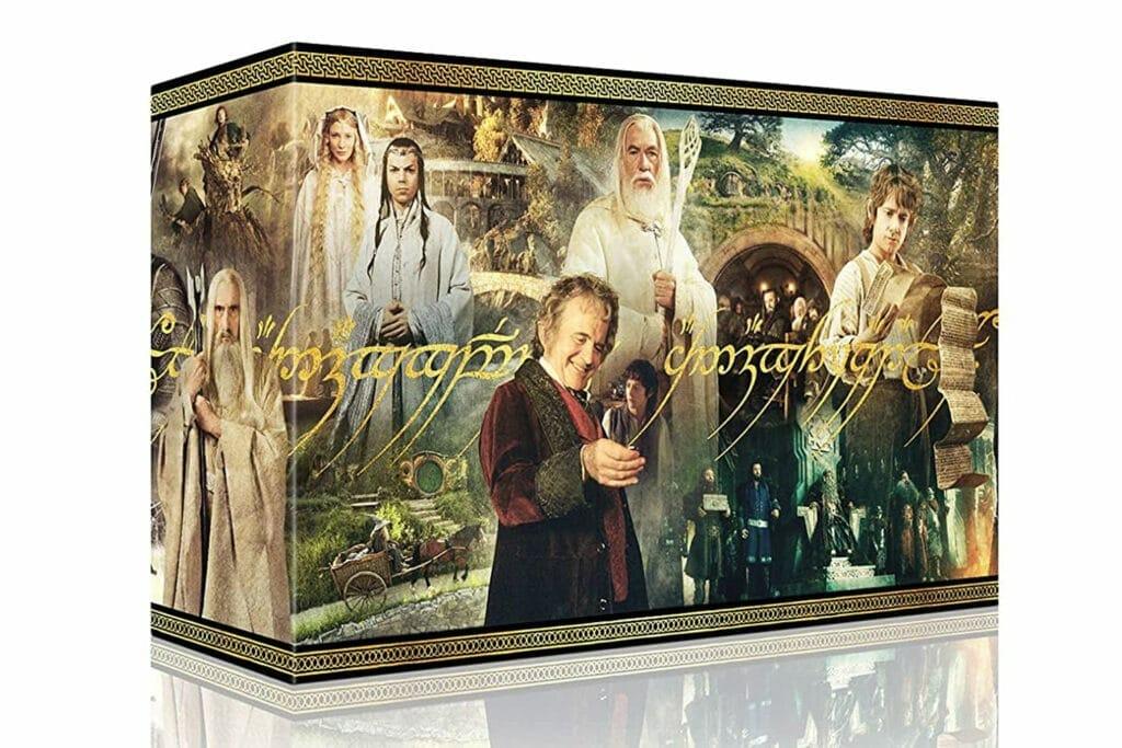 Das Design der Sammlerbox vereint alle Hauptcharaktere und wichtigen Schaustätten der Herr der Ringe und Hobbit-Filme