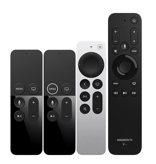 Der Größenvergleich der Siri Remotes mit der MagentaTV Fernbedienung