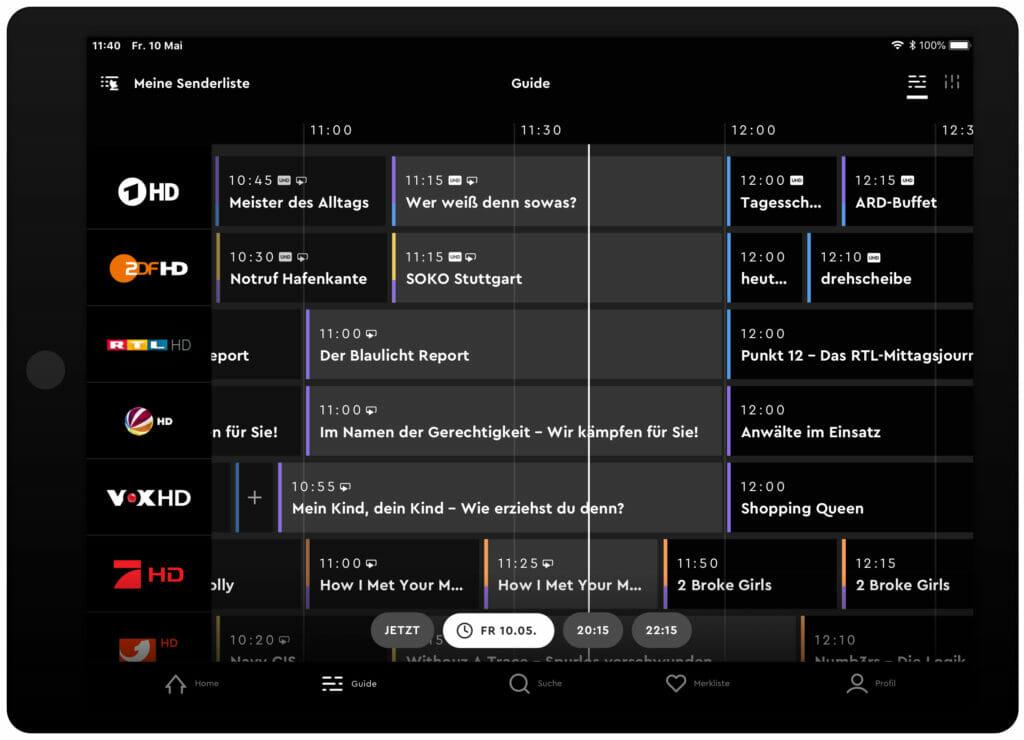 Das EPG der HD+ App mit der ToGo-Option