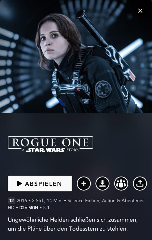 Auf kompatiblen Smartphones wird Rogue One in HD mit Dolby Vision gezeigt