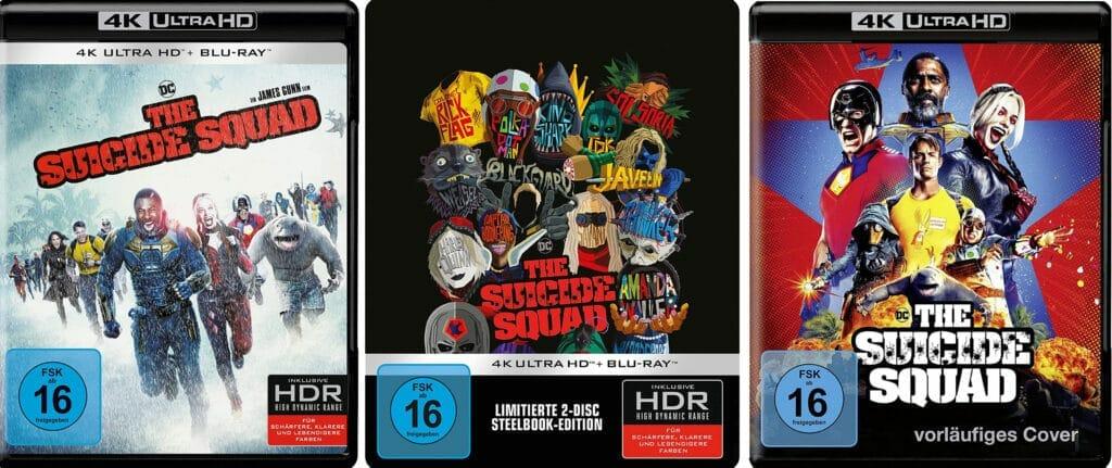 The Suicide Squad 4K Blu-ray als Amaray, 4K Steelbook und das Vorab-Cover (rechts) welches wohl nicht zum Einsatz kommt