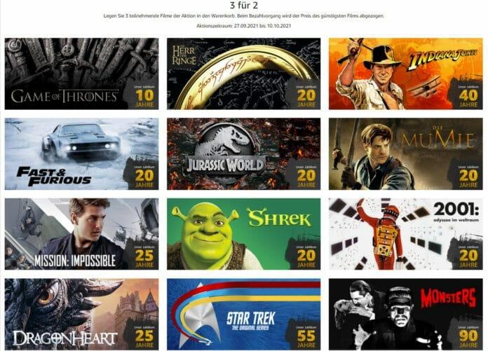 Amazon feiert das Jubiläum großer Filme mit einer 3-für-2-Aktion!
