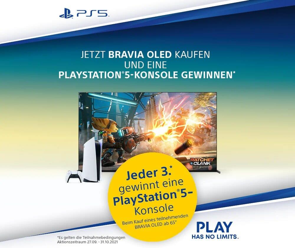 Einen Bravia OLED TV kaufen und eine PlayStation 5 Konsole gewinnen