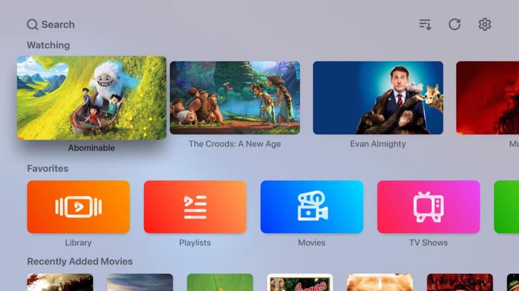 Home Screen der Infuse 7.2 App auf dem Apple TV
