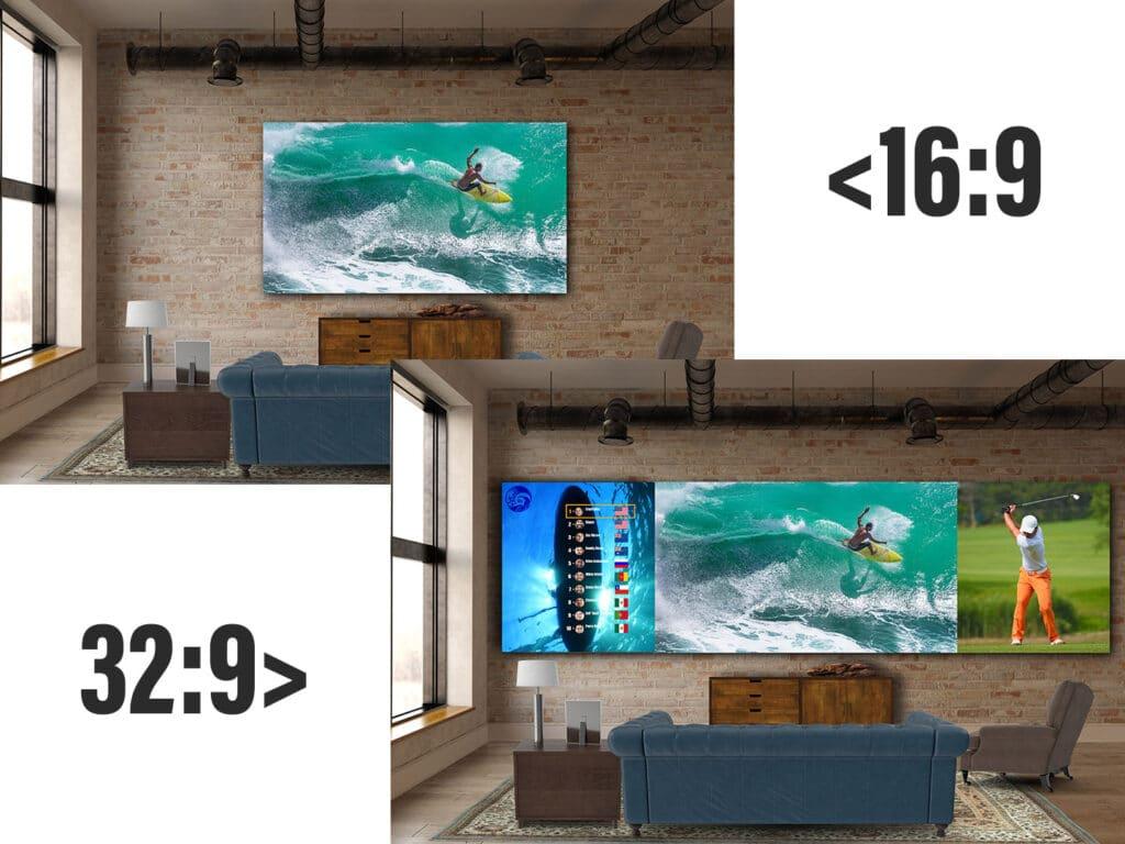 Außer bei den 8K-Modellen steht neben dem 16:9 auch eine Variante mit 32:9-Bildverhältnis zur Auswahl (Dual-2K oder Dual-4K)