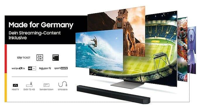 """Auch der 43 Zoll QN90A profitiert von der """"Made for Germany""""-Zugabe kostenloser Streamingdienste"""