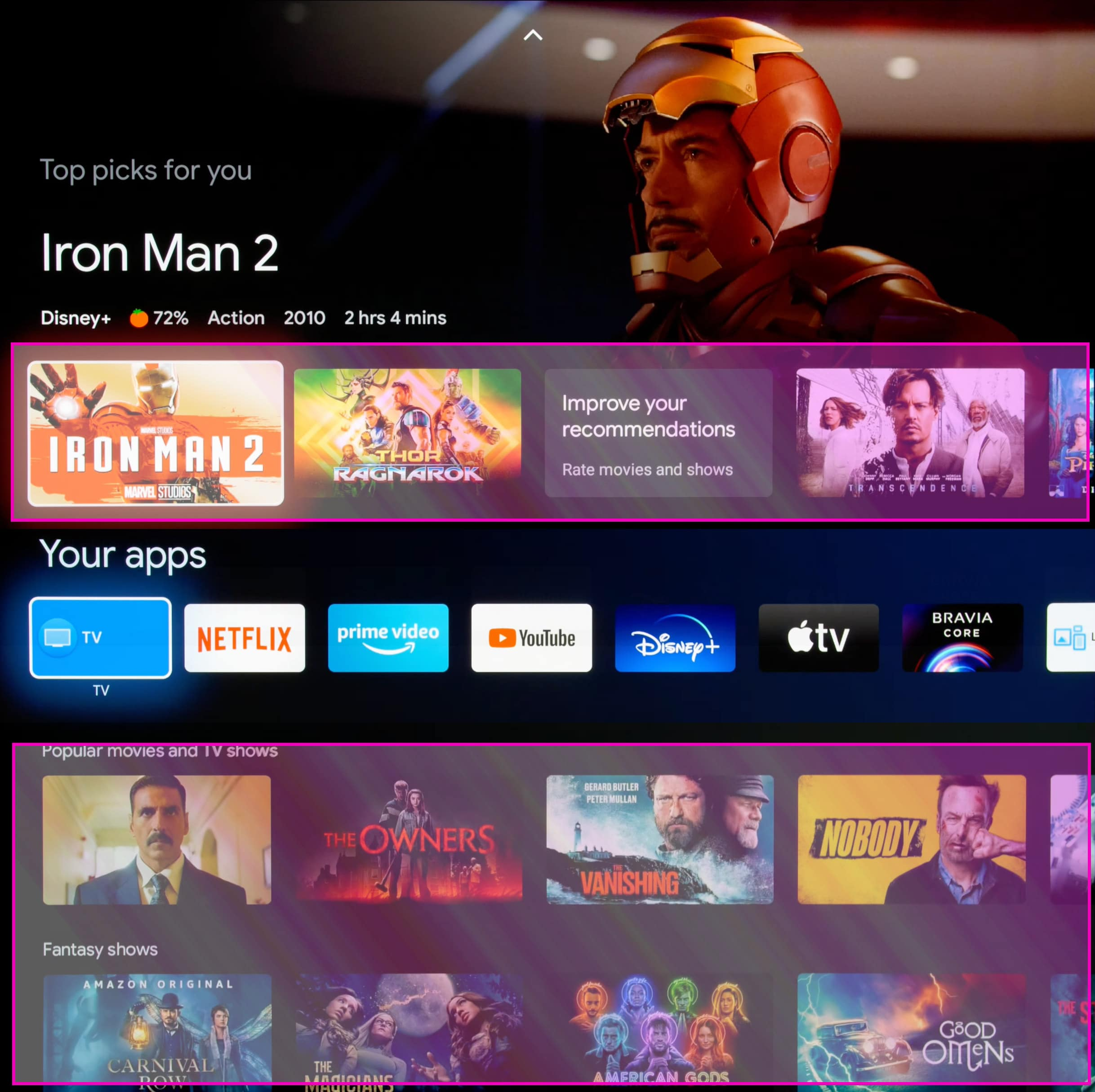 Die personalisierten Empfehlungen und Sponsored Inhalte (pinke Markierung) lassen sich mit diesen Google TV Einstellungen entfernen.