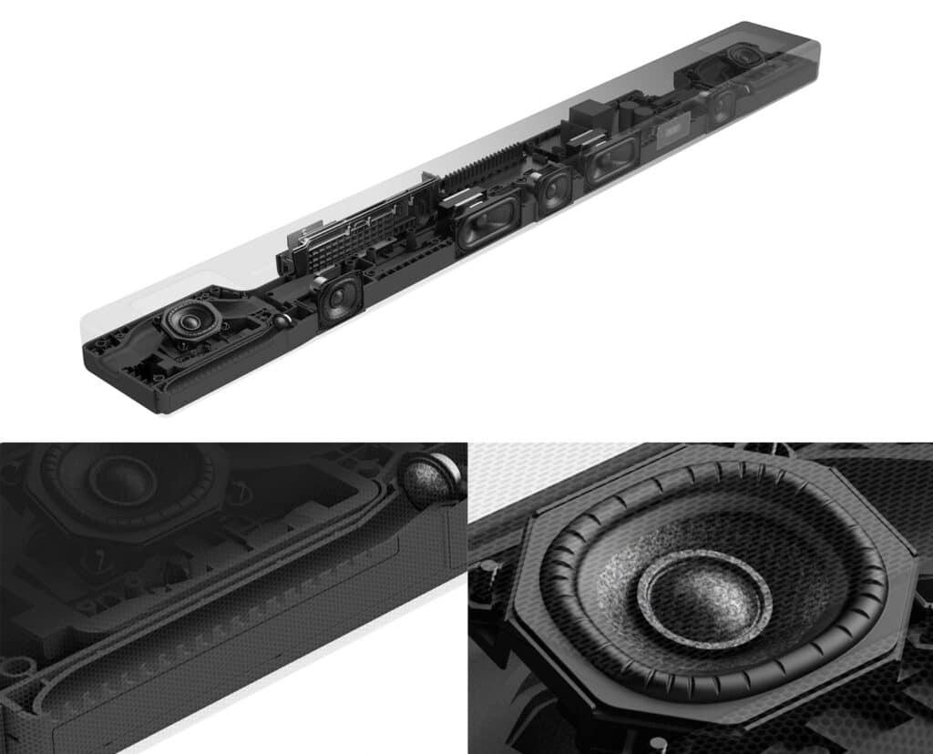 Hier seht ihr die Anordnung der Lautsprecher (X-Balanced) der HT-A5000 Sounbar