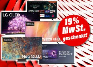 19 Prozent Mehrwertsteuer geschenkt auf alle verfügbaren TV-Geräte auf mediamarkt.de!