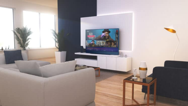 Der Sky Glass fügt sich dank ansprechendem Design und 5 Farben perfekt in das Interieur ein