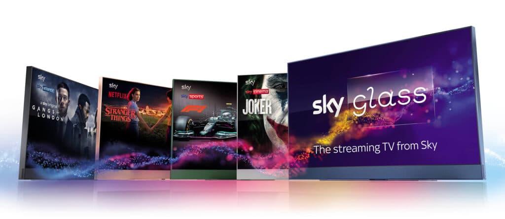 Die fünf Farboptionen des Sky Glass Streaming-TVs