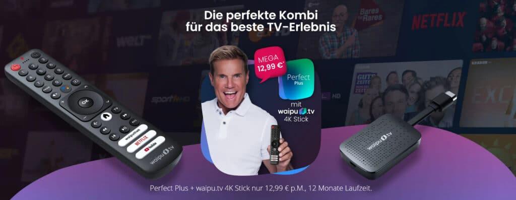 waipu.tv bewirbt seinen Streaming-Stick mit Dieter Bohlen als Galionsfigur.
